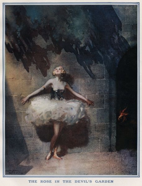 'The Rose in the Devils Garden' by Gordon Nicoll Pretty young blonde-haired girl in a large white tutu and red ballet shoes, standing with her back to a stone wall. The devil can be seen peeping round the side of an entrance through the wall