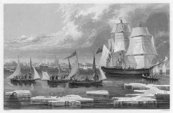 An episode during the Parry/Ross Arctic expedition, the return of the boats is hailed by the ship's crew