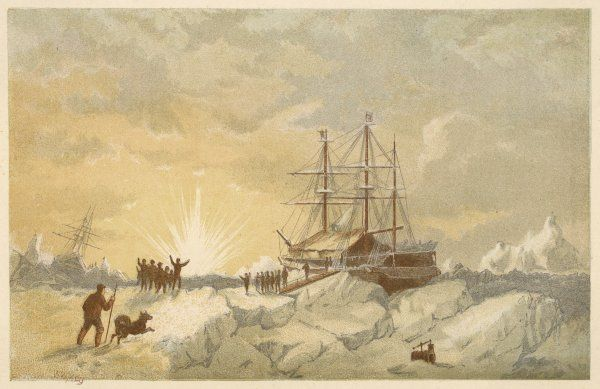 The return of the sun to the Arctic regions during the voyage of Ross to find Franklin. The crew leave their ships, Enterprise & Investigator, to enjoy the full effect