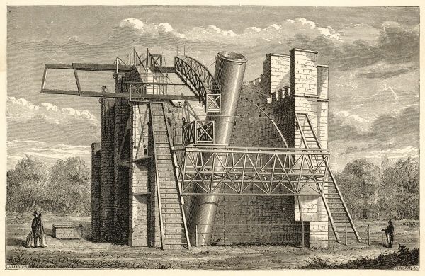 William Parsons, 3rd earl of Rosse, built his giant telescope, known as the 'Leviathan', at Parsonstown, near Dublin and with it made several important discoveries. Date: 1845