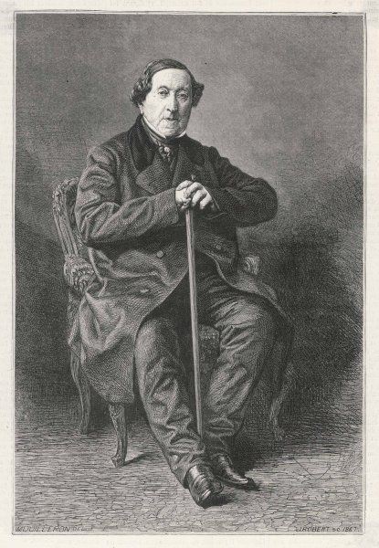GIOACCHINO ROSSINI composer, as an elderly man, full-length portrait, seated, with stick