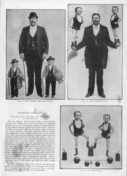 ROSSOW'S MIDGETS Franz and Carl, two Viennese brothers, with Hermann Rossow their impresario ; their brothers and sisters are of normal size