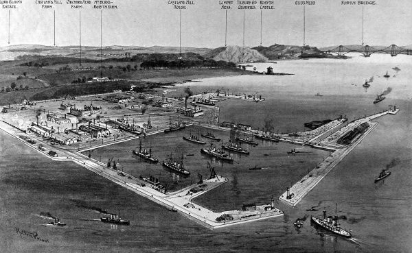 Illustration showing an artist's impression of how Rosyth Naval Base, in the Firth of Forth, would look when complete. This image was created when the work on the base had only just begun in 1908