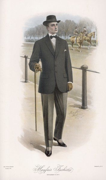 A man strolling in Hyde Park's Rotten Row wears a lounging jacket, narrow grey striped trousers, spats, bowtie & a trilby hat & carries a cane or walking stick