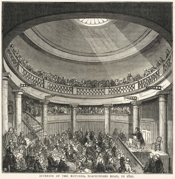 A service in the Rotunda in Blackfriars Road, a meeting place for independent worshippers