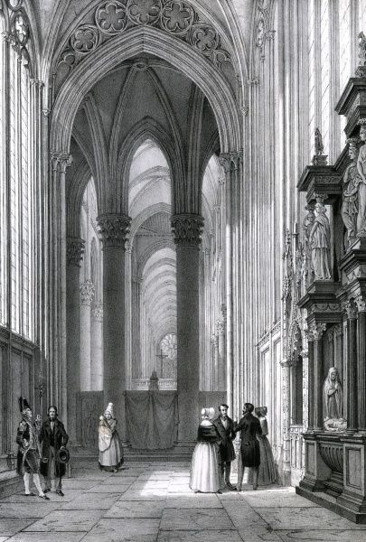 ROUEN CATHEDRAL, interior of the Chapelle Notre-Dame Date: circa 1840