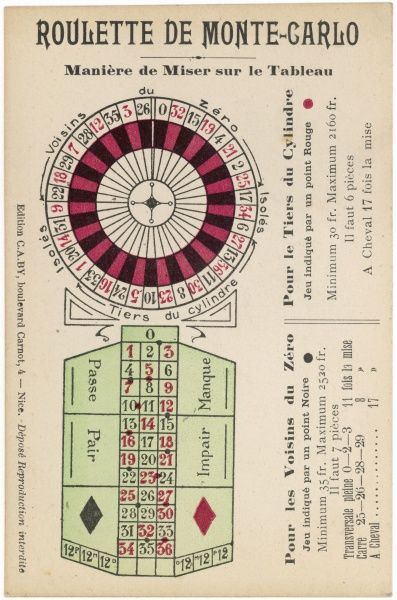 Instructions for a roulette game at Monte Carlo