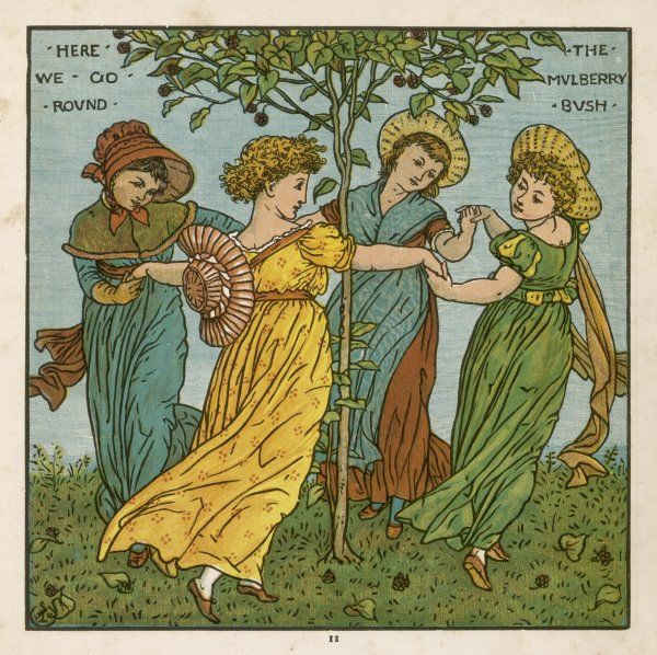 Four decorative girls go round the mulberry bush