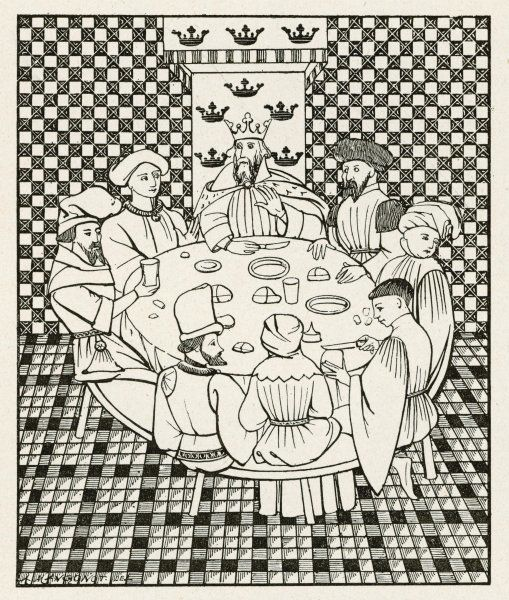 Arthur and seven of his knights dine at the Table Ronde. While they wait to be served, one of them cuts himself a slice of bread