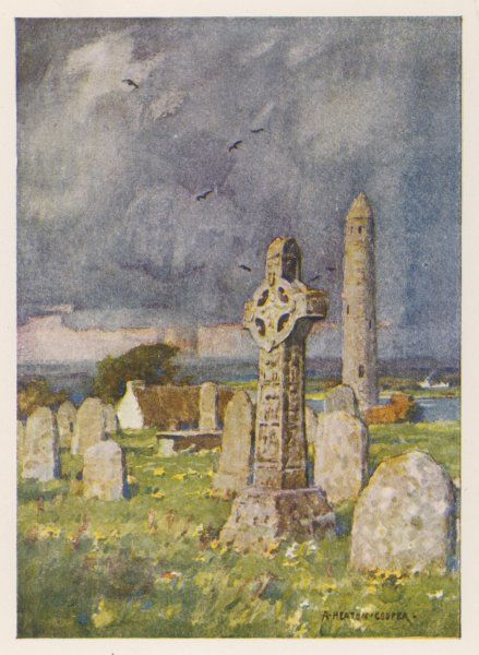 CLONMACNOISE, Roscommon Round Tower and Cross in the churchyard