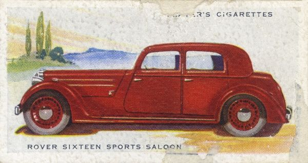 Somewhat stately for a 'sports saloon', but the Rover 16 is a fine touring car with plenty of power. Date: 1937