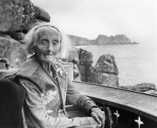 Rowena Cade (1893 - 1983) - inspirational founder and driving force behind the creation and construction of the remarkable clifftop Minack Theatre at Porthcurno near Lands End, Cornwall, opened in 1932. Photographed on her 90th birthday