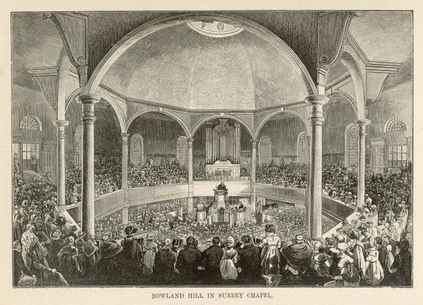 Rowland Hill (1744-1833), nonconformist leader and evangelical, preaching to a large congregation in the Surrey Chapel, Blackfriars Road, London