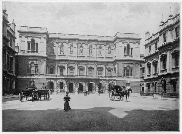 The facade of Burlington House, the home of the Royal Academy of Arts in London. The building was erected between 1695-1743 by Richard Boyle, Earl of Burlington, with the assistance of William Kent, the architect and landscape gardener