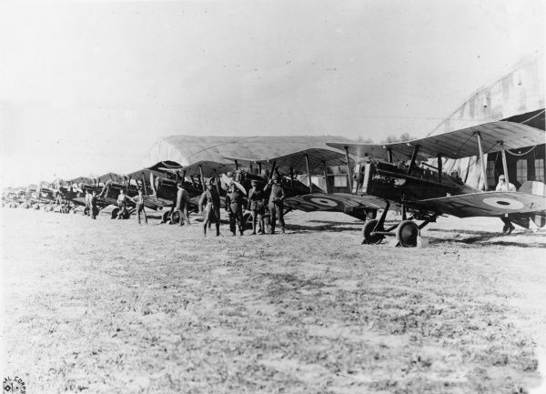 Eleven single seater scouting planes - S.E.5s and S.E.6As - of the Royal Air Force No. 29 Squadron are prepared in readiness to set out for enemy lines, Oudezeele, northern France