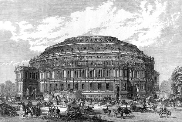Engraving showing the exterior of a design for the Royal Albert Hall of Arts and Sciences, London, 1867