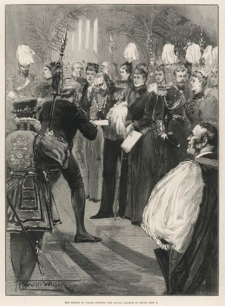 Philanthropist Samson Fox (1838-1903) giving a cheque for 45,000(the amount the building cost) to the Prince of Wales, later Edward VII(1841-1910), at the opening of the Royal College of Music. The Kensington ceremony was witnessed by an assembly of 3