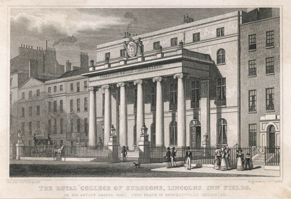 The Royal College of Surgeons, in Lincoln's Inn Fields, London, one of Britain's leading medical institutions, chartered in 1800 but with origins in medieval guilds