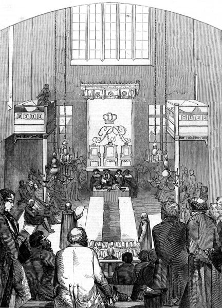 Engraving showing the seating of the Commission which gave Royal Assent to the Corn Bill, in the House of Lords, June 1846