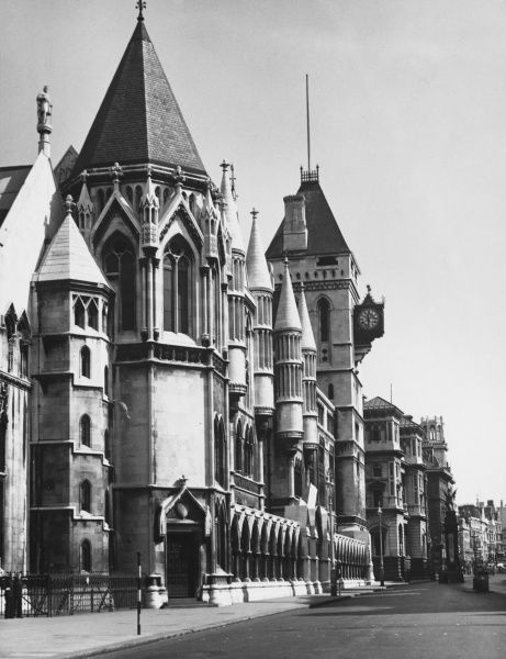 The Royal Court of Justice, London, on the eastern end of the Strand. Famous for its gothic architecture; built in the 1870s as a home to the High Court & Court of Appeal