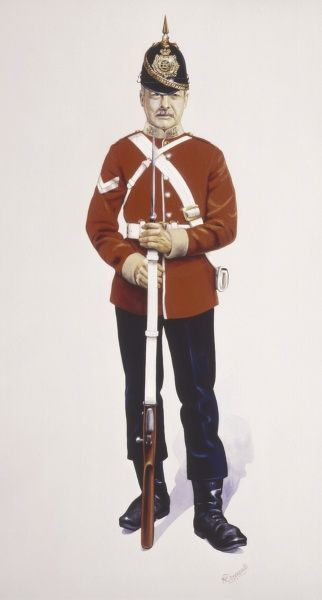 A Corporal of the East Kent Regiment (The Buffs). Painting by Malcolm Greensmith
