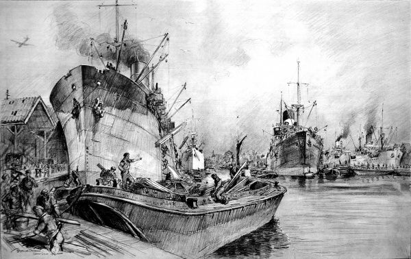 Drawing showing Royal Engineers and men of the Pioneer Corps, under Government orders, busily unloading ships in Surrey Docks, London, August 1945