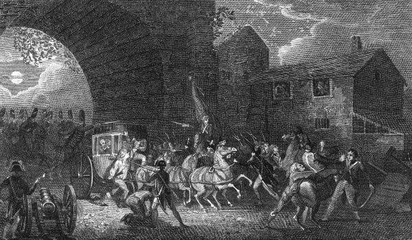The would-be escaping royals are brought back to Paris under armed guard. Date: 25 June 1791