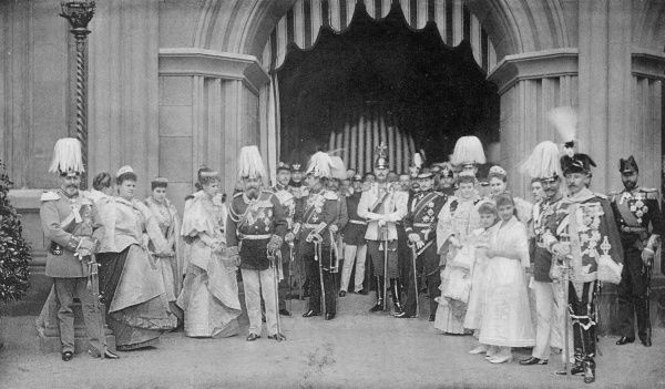 A gathering of European royalty at Schloss Coburg, including Princess of Saxe-Meiningen, Prince Henry of Prussia, Prince Ferdinand of Roumania, Grand Duchess Serge of Russia, Prince Louis of Battenberg, Prince of Wales, Duchess of Coburg, Princess
