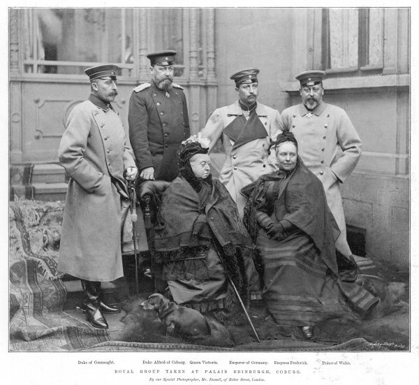 Royal group taken at the Palais Edinburgh, Coburg in 1894. From left: Arthur, Duke of Connaught, Duke Alfred of Coburg, Queen Victoria, Kaiser Wilhelm II, Emperor of Germany, Victoria, Empress Frederick of Germany and Edward, Prince of Wales
