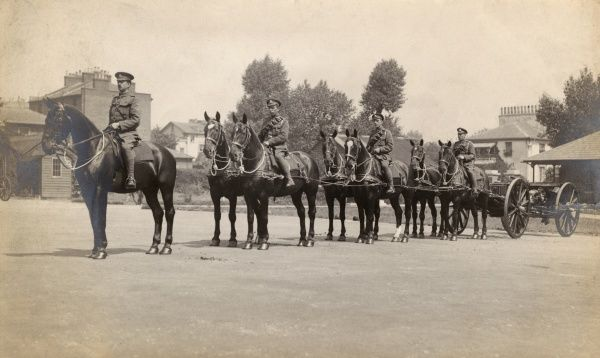 Men of the Royal Horse Artillery on parade, with horses and gun carriages, during the First World War. Date: 1914-1918
