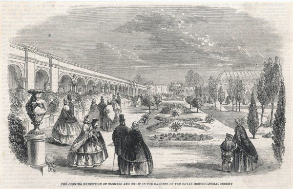 An exhibition of the Royal Horticultural Society, showing people admiring a formal garden