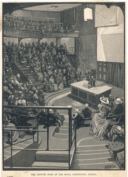 A lecture in progress at the Royal Institution, London