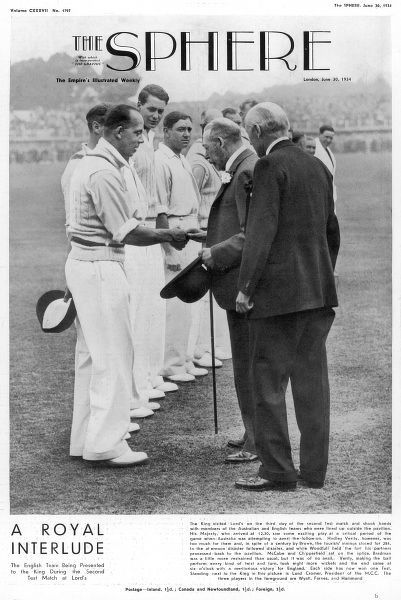 The English Team being presented to King Gorge V during the third day of the second test match at Lord's