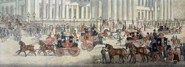 Colour illustration showing horse-drawn Royal Mail carriages departing from the General Post Office, London