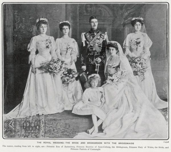 Formal group portrait taken on the occasion of the marriage of Princess Margaret of Connaught to Crown Prince Gustavus Adolphus of Sweden in June 1905. From left: Princess Ena of Battenberg, Princess Beatrice of Saxe-Coburg, the Bridgegroom