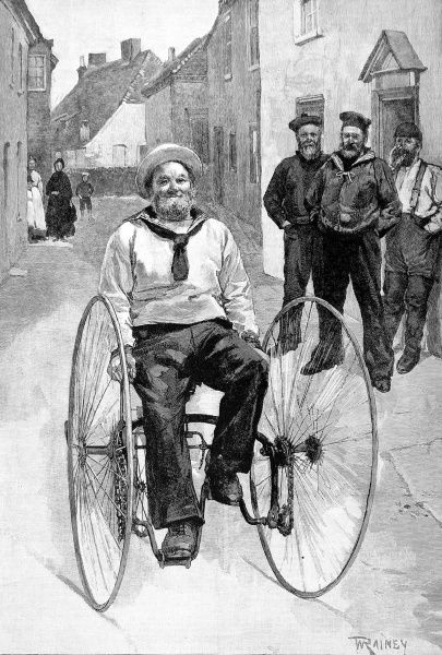 Illustration of 'Jack Ashore - A Cruise on Wheels'; a Royal Navy seaman having a ride on a large tricycle
