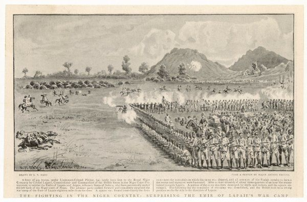 Soldiers of the British Royal Niger Company form a square to attack the camp of the Emir of Lapaie and subdue West African resistance to British colonial efforts