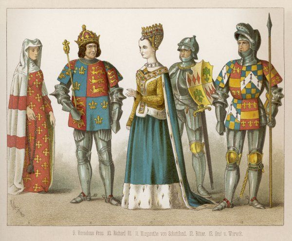 Clothing of English & Scottish royalty, a lady of rank & a knight & an earl in full armour. Margaret of Scotland: templers, ermine trimmed gown, cloak & bodice