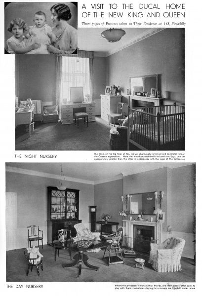 Photographs of Princess Elizabeth and Princess Margaret's night and day nurseries at their home, 145, Piccadilly. The top image is of the Duchess of York with her two daughters.  1936