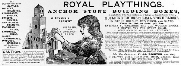An advertisement by F.Ad. Richter of Fenchurch Street, London for real stone building blocks, as played with by the Royal children