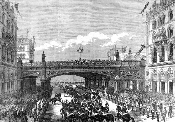 Engraving showing Queen Victoria's procession passing under the Holborn Valley Viaduct, London, in 1869