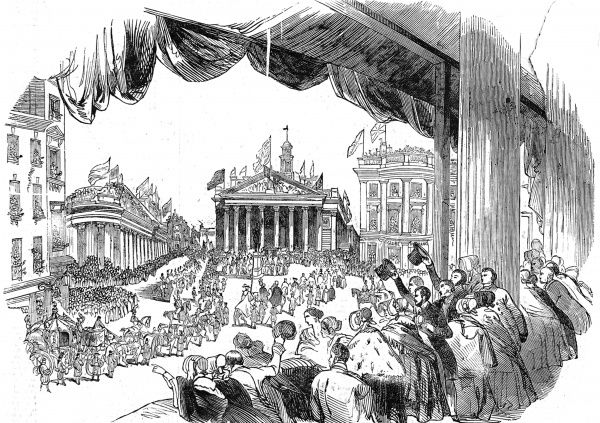 Engraving showing the Royal carriage of Queen Victoria and Prince Albert passing the Mansion House, London, on their way to officially open the Royal Exchange, 1844