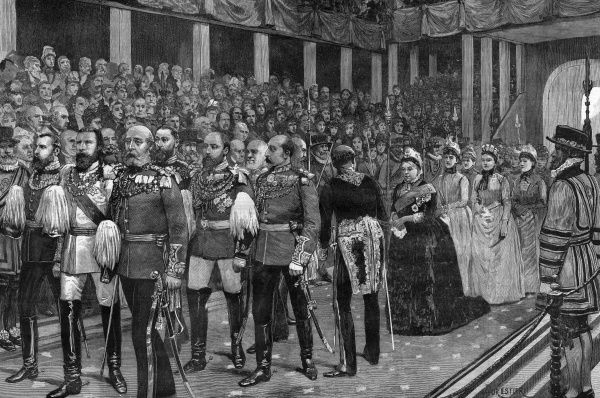 A royal procession at Westminster Abbey, as part of Queen Victoria's Golden Jubilee. Date: 10 July 1887