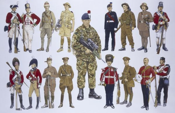 The Royal Regiment of Fusiliers, formed in 1968 from the Royal Northumberland Fusiliers (top right), the Royal Warwickshire Fusiliers (bottom right), the Royal Fusiliers (City of London) (Bottom left) and the Lancashire Fusiliers (top left)