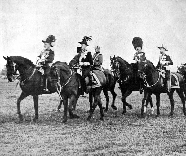 Edward VII (1841-1910) accompanied by King Alfonso of Spain on horseback at a Royal Review at Aldershot in 1905. Edward was a renowned diplomat and did much to cement friendly relations between many countries throughout his reign, particularly France