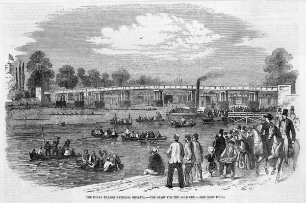 The Royal Thames National Regatta is held on the river at Putney. A steamer and boatloads of spectators at Putney Bridge. The start for the Gold Cup
