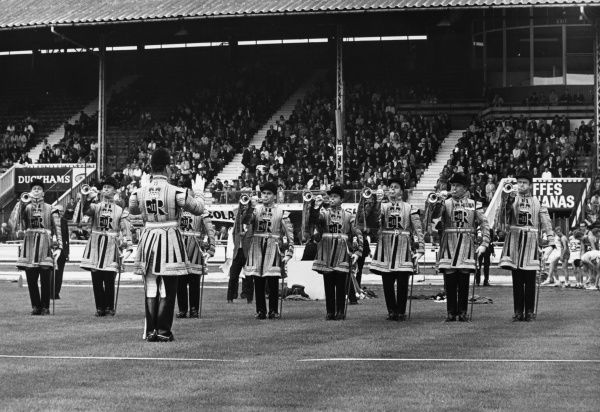 A fanfare from the Royal Trumpeters at White City, west London. Date: 1960s