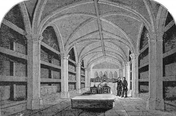 Engraving showing the interior of the Royal Vault of St. George's Chapel at Windsor Castle, 1884