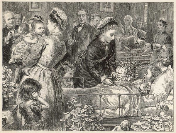 Princess Louise visits the Victoria hospital for sick children in Chelsea