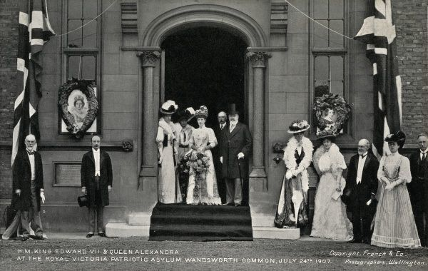 King Edward VII and Queen Alexandra visit the Royal Victoria Patriotic Asylum at Wandsworth Common, Surrey (now in south west London), on 24 July 1907